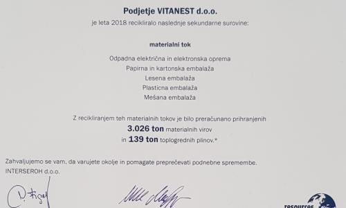 Certifikat Interseroh za Vitanest